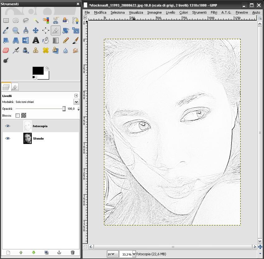 Tutorial gimp ottenere un disegno a matita da una foto for Lupo disegno a matita