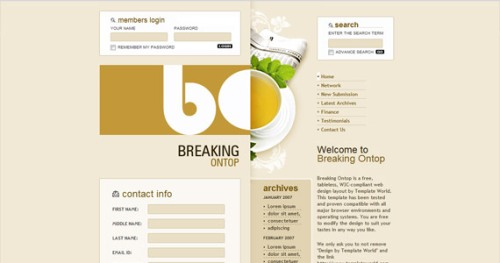 breaking-on-top-css-xhtml-template